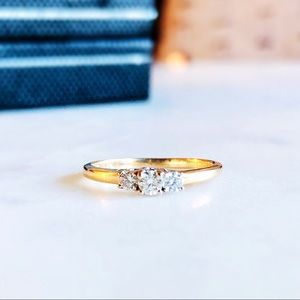 Vintage 14K Gold Three 1/4 Diamond Engagement Ring
